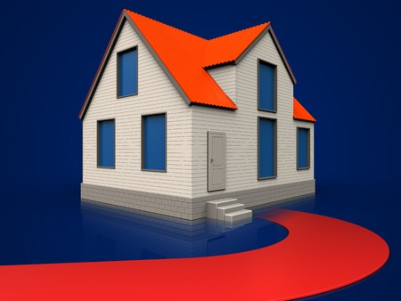 3d illustration of cottage house with red road over dark blue background