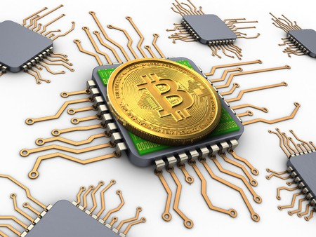 electronic background: 3d illustration of bitcoin over white background with processors