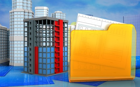 construction project: 3d illustration of building construction with urban scene over skyscrappers background Stock Photo