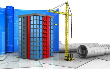 3d illustration of building with drawing roll over white background Stock Photo