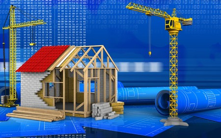 construction project: 3d illustration of frame house with crane over digital background