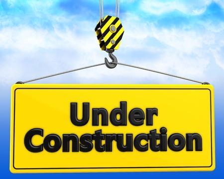 rectangle: 3d illustration of under construction sign with crane hook over sky background