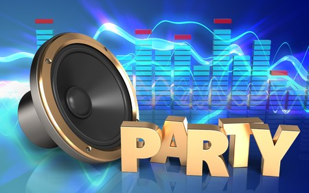 3d illustration of loud speaker over sound waves blue background with party sign
