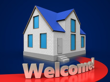 3d illustration of home with welcome sign over dark blue background