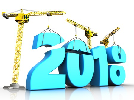 3d illustration of cranes building blue 2018 new year sign over white background