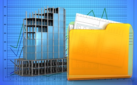 refelction: 3d illustration of modern building frame over graph background Stock Photo