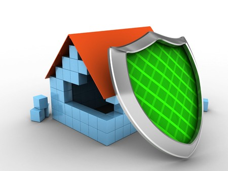 3d illustration of block house over white background with shield