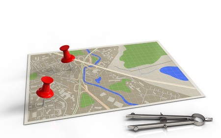 two: 3d illustration of map with red pins and drawing compass