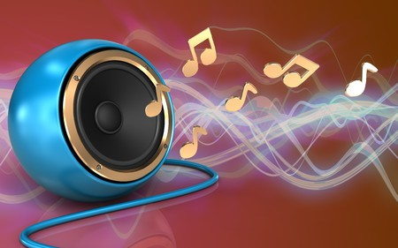 3d illustration of blue sound speaker over red sound wave background with notes Stock Photo