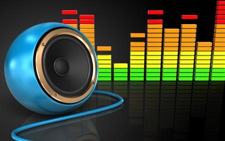 3d illustration of blue sound speaker over black background Stock Photo