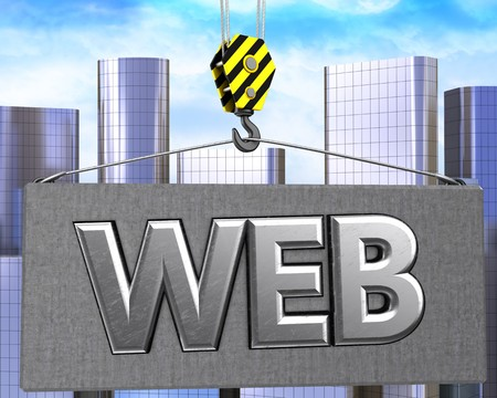 rectangle: 3d illustration of web sign with crane hook over city background