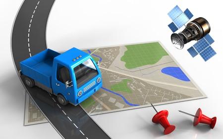 3d illustratie van kaart met vrachtwagen en rode pinnen Stockfoto