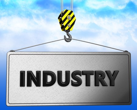 brushed: 3d illustration of industry sign with crane hook over sky background