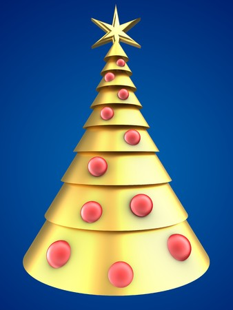 gloss: 3d illustration of golden Christmas tree over blue background with red balls Stock Photo