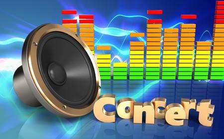 3d illustration of loud speaker over sound waves blue background with concert sign Stock Photo