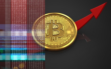 3d illustration of bitcoin over black background with up arrow Stock Photo
