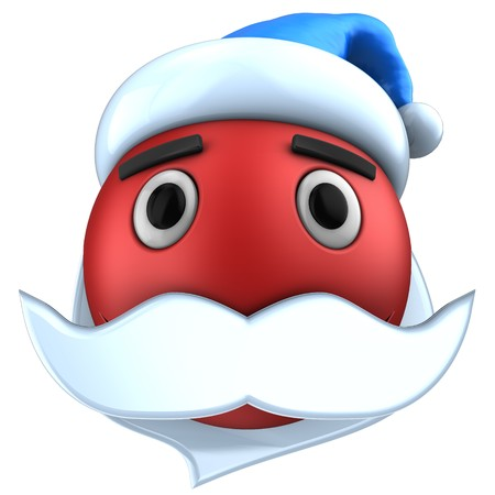3d illustration of red emoticon smile with Christmas hat over white background