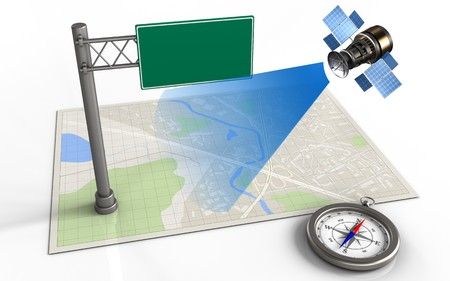 ray of light: 3d illustration of bright map with index sign and satellite
