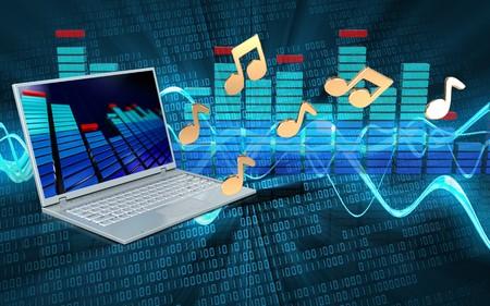 3d illustration of laptop computer over sound wave digital background with notes Banco de Imagens
