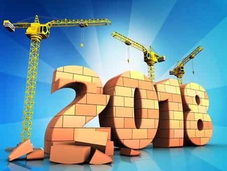 3d illustration of cranes building bricks 2018 year sign over  background