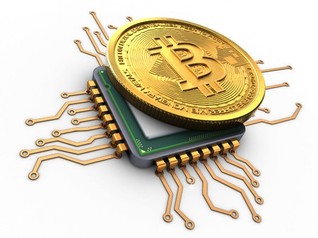 3d illustration of bitcoin over white background with cpu