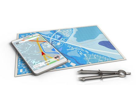 smartphone: 3d illustration of blue map with mobile navigation and
