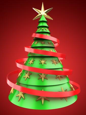 クリスマス ツリーの装飾と赤い背景の上の緑に光の 3 d イラストレーション