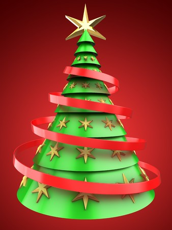 gloss: 3d illustration of light green Christmas tree over red background with decoration