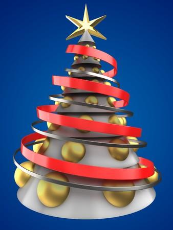 大きな金色のボールと青の背景の上に白いクリスマスツリーの3d イラスト