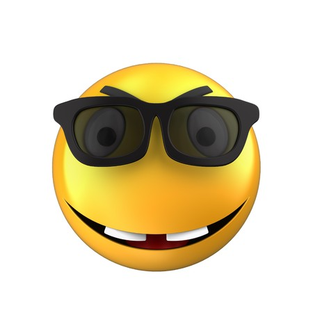 3d illustration of yellow emoticon smile over white background with white eyes Stock Photo