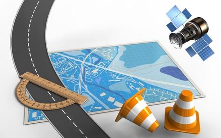 分度器と修理コーンとブルーマップの3d イラスト