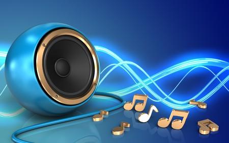 3d illustration of blue sound speaker over sound background with notes