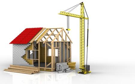 3d illustration of frame house over white background