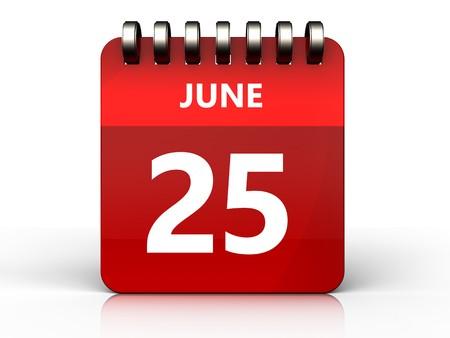 3d illustratie van juni 25 kalender over witte achtergrond
