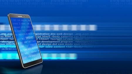 3d illustration of mobile phone over digital background