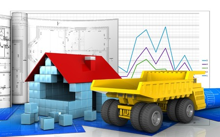 heavy industry: 3d illustration of house blocks construction with drawings over business graph background Stock Photo