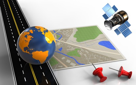 3d illustration of map with earth globe and red pins Stock Photo