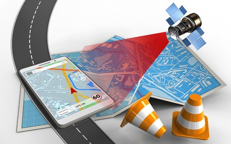 3d illustration of city map with mobile navigation and repair cones Stock Photo