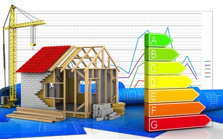 3d illustration of frame house with crane over business graph background