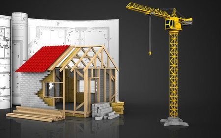 3d illustration of frame house with drawings over black background Stock Photo