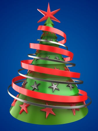 decorate: 3d illustration of Christmas tree over blue background with stars decoration