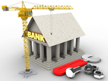heavy industry: 3d illustration of Bank over white background with wrench and crane