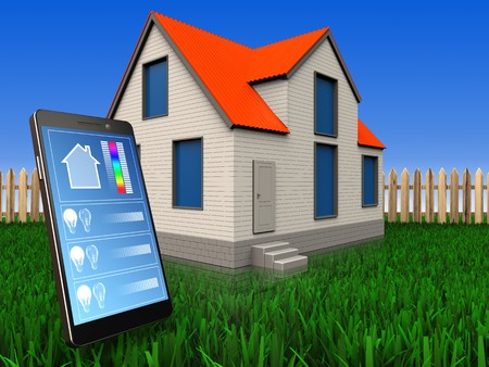 3d illustration of cottage house with phone application over lawn and fence background