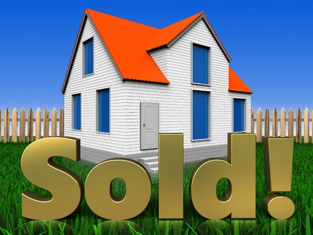 3d illustration of house with sold sign over lawn and fence background Stock Photo