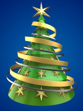 new years: 3d illustration of Christmas tree over blue background with decoration