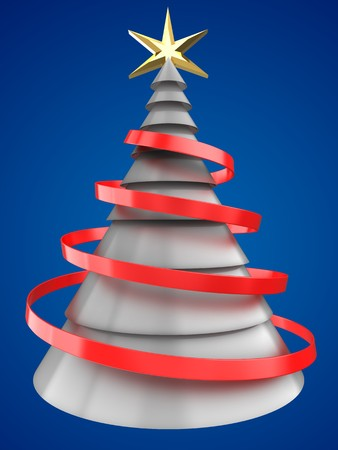 new years: 3d illustration of white Christmas tree over blue background with red ribbon