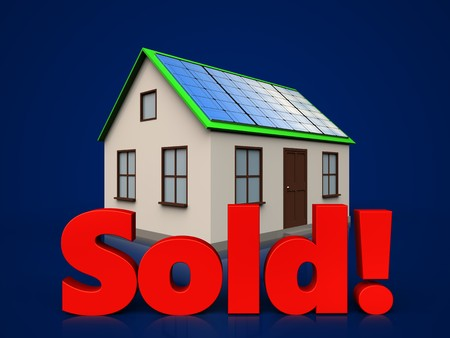 3d illustration of home with solar panel with sold sign over dark blue background