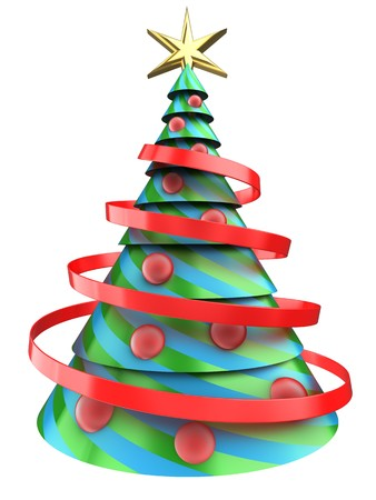 new years: 3d illustration of Christmas tree over white background with red balls