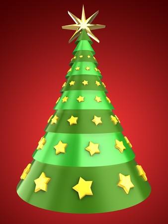 黄色の星の飾りと赤い背景の上のクリスマス ツリーの 3 d イラストレーション