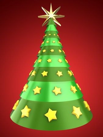 3d illustration of Christmas tree over red background with yellow stars ornament